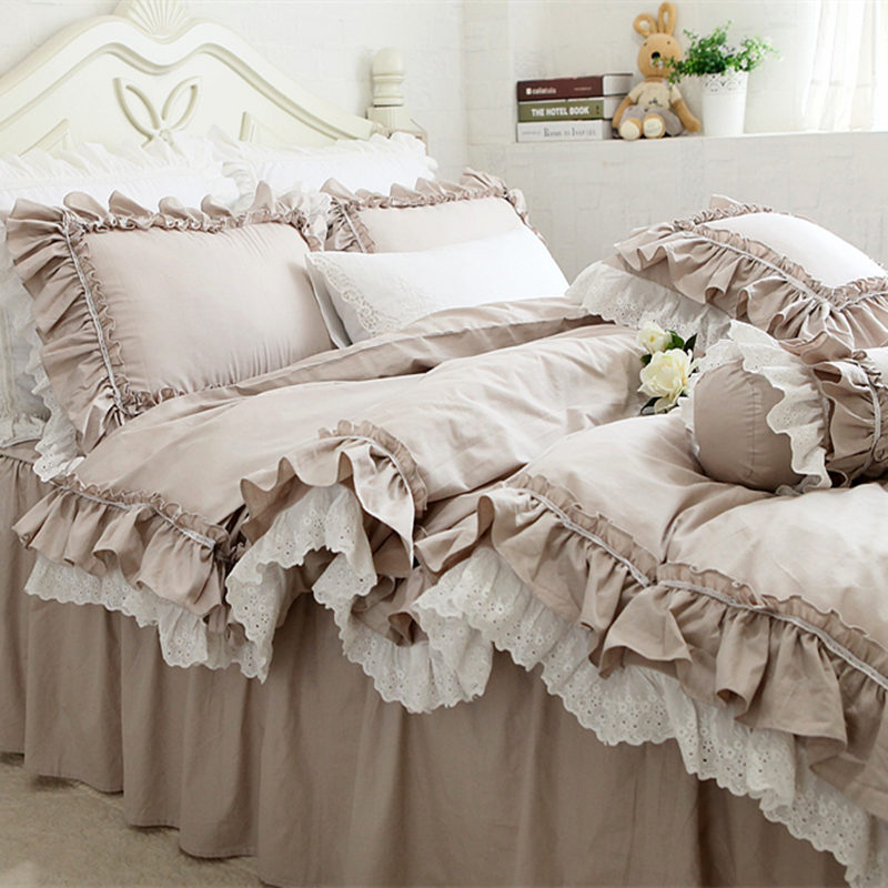 New European Khaki Bedding Set Double Ruffle Lace Duvet