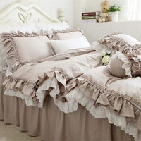 New European Khaki bedding set double ruffle lace duvet cover bedding elegant bedspread bed sheet for wedding decor bed clothes