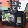 Usb Мини Аквариум Настольный Электронный Аквариум Fish Tank с Проточной Водой СВЕТОДИОДНЫЕ Насос Свет Календарь Часы Белый и Черный