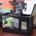 Usb Mini Fish Tank Desktop Electronic Aquarium Fish Tank with Water Running LED Pump Light Calendar Clock White&Black