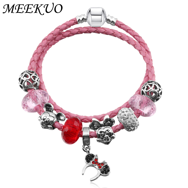 MEEKUO Pink Crystal Charm Bracelet Femme Silver color Pandors