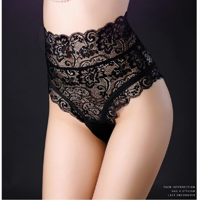 Large size sexy high waist lace tight woman panties