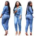 Горячие продажа женщины 2016 bodycon комбинезон полный рукав джинсовые комбинезоны элегантные длинные комбинезоны SMR8209