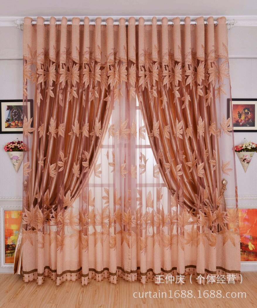 1 Pc Curtain And 1 Pc Tulle Peony Luxury Window Curtains: 2017 New Finished Curtains For Dining Living Bedroom Room