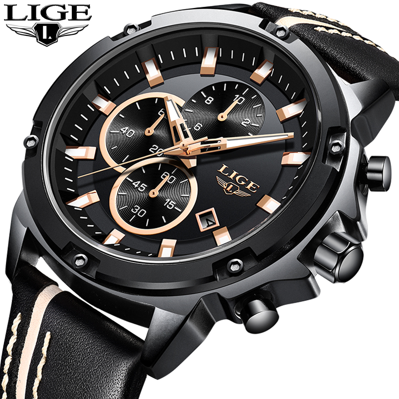 2018 LIGE Männer Uhren Mode Chronograph Männlichen Top Marke Luxus Quarzuhr Männer Leder Wasserdichte Sport Uhr Relogio Masculino