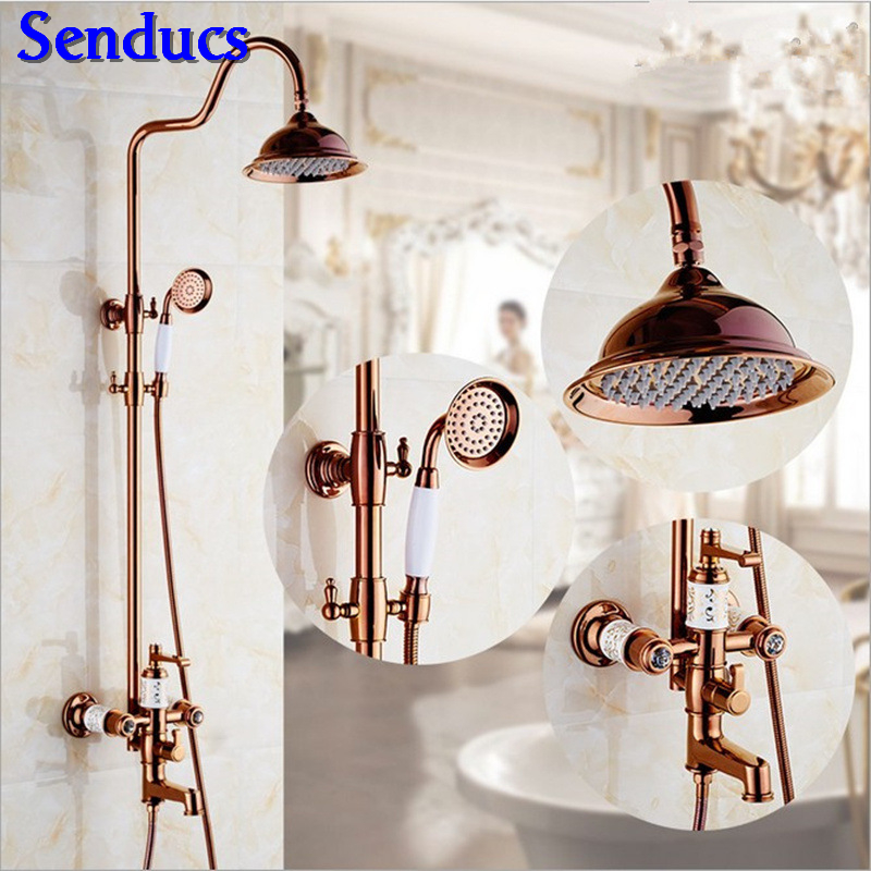 Senducs Jade Stone Bathroom Shower Set Quality Brass Rose Gold Bath Shower System Fashion Design Rose Gold Bathtub Mixer FaucetSenducs Jade Stone Bathroom Shower Set Quality Brass Rose Gold Bath Shower System Fashion Design Rose Gold Bathtub Mixer Faucet