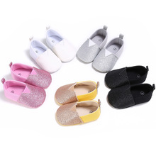 Infant Baby Girls Shoes Bling Bling Solid Anti-skid Causal Loafers Shoes Baby Princess Kids Spring Autumn Bow-knot First Walker