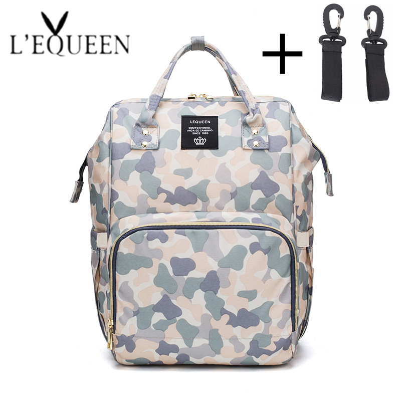 New Fashion Camouflage Printed Mummy Bag Large Stroller Bag Baby  Diaper Bags Baby Nappy Organizer For Baby Care With 2 Hooks