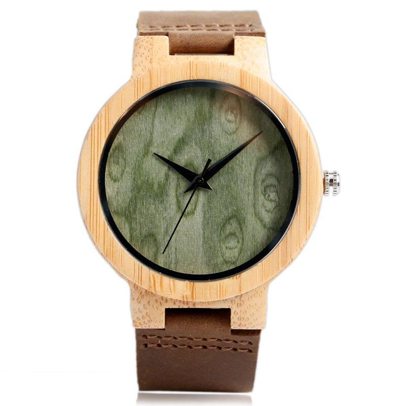 Bamboe creatieve hout horloge handgemaakte Mens echt lederen band - Herenhorloges