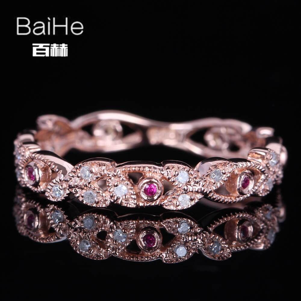 7643ea66dd88 BAIHE sólido 14 K oro rosa (AU585) anillo de joyería fina de moda de boda  con diamantes naturales genuinos redondos H SI certificados 0.2CT