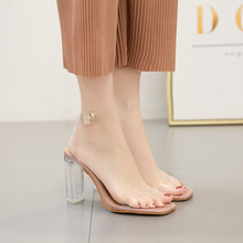Liren 2019 Summer New PVC Fashion Sexy Lady Sandals Platform High Square Heels Transparent Open Toe Size 35-42