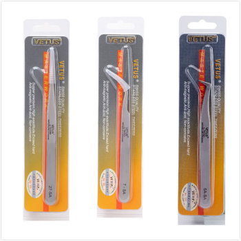 VETUS SA Series Tweezer Stainless Steel Hyperfine High Precision Antimagnetic Anti Acid Tweezers for Eyelash Extension