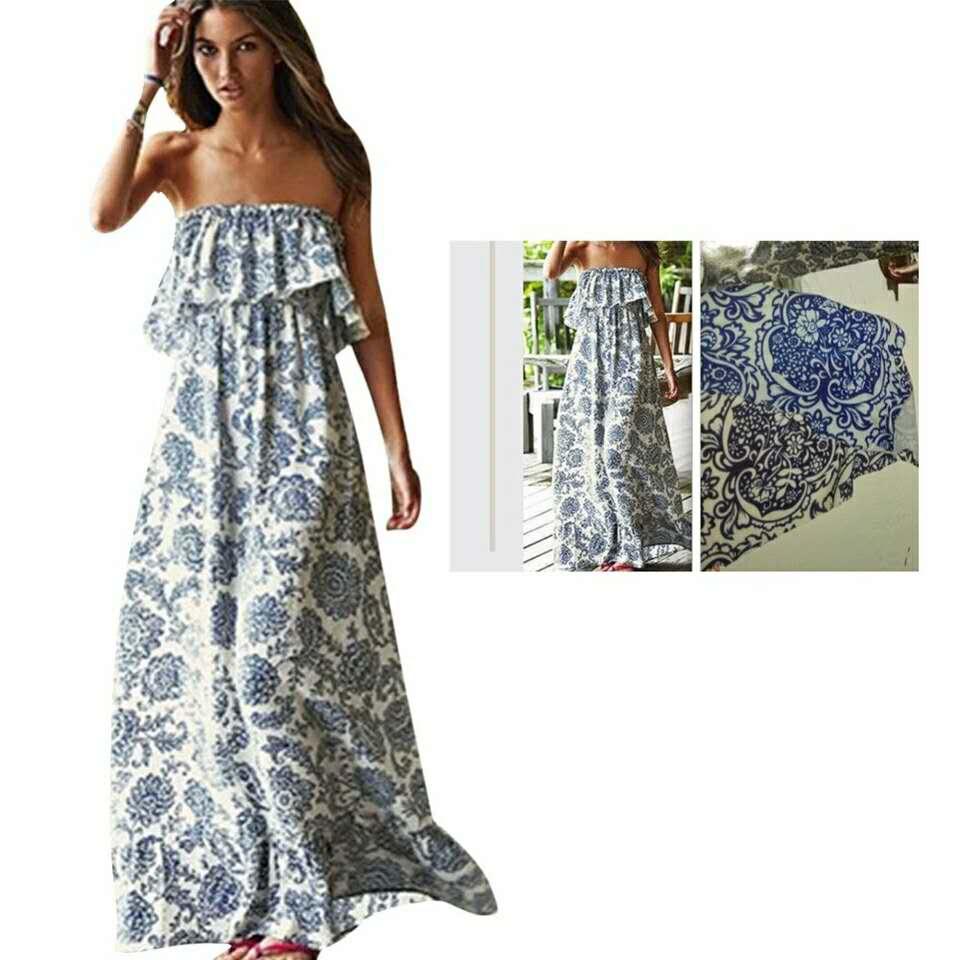 2018 new Lady Summer Strapless Printed Bandeau Cocktail Party Long beach Beach Dress Sun dress YAGENZ A090