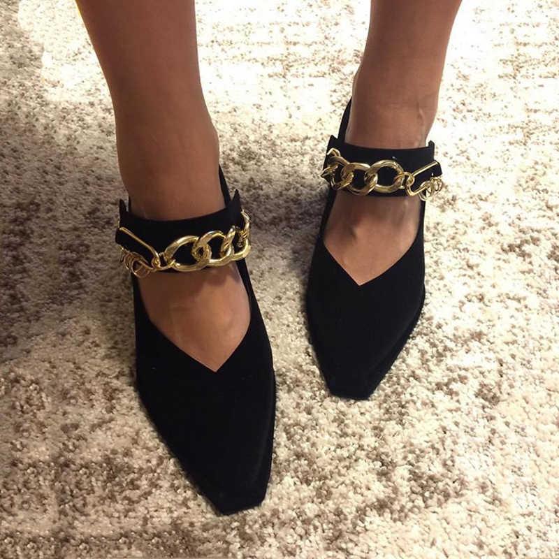 HZXINLIVE Kadife Mary Jane Ayakkabı Zincirleri Dekor Pompaları Kadın Ayakkabı Sivri Burun Yüksek Topuklu Kadın Pompaları Yüksek Topuklu Bayan Ayakkabıları