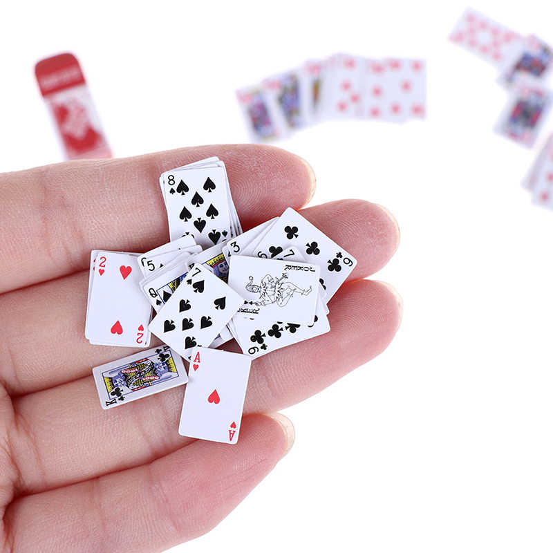1 Set 1:12 Cute Miniature Dollhouse Cute Mini Poker Playing Cards Mini Cute Poker Doll Accessorie Doll Toys Decoration