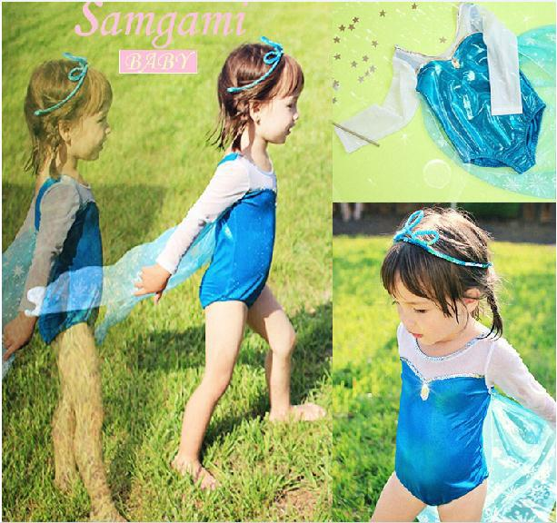 2014 New baby girl frozen swimsuit blue swimwear elsa long shawl swimming cap girls bikini kids