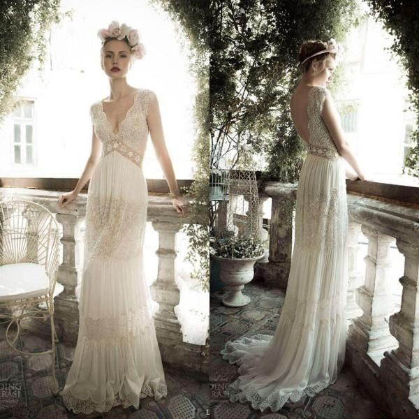 4e69a2b301e 2016 Vintage Lihi hod A-Line Beach Wedding Dresses Sheer Deep V-Neck  Backless