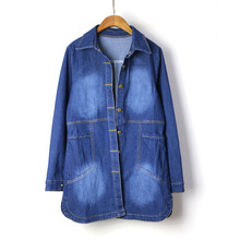 new Women Demin Jacket coat loose Sping Autumn Jeans Coat Vintage Lapel Long Sleeve Single Breasted