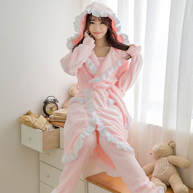 a317297164f63 3 pc ensemble Hiver Femme flanelle polaire peignoirs Casual Solide Sexy  Pyjama Chaud ensemble harnais + pantalon + peignoirs 102707 dans Robe et  Robe ...