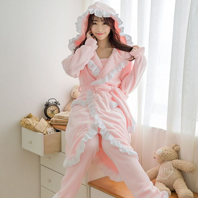 f16c53187e 3pc set Winter Female flannel fleece bathrobes Casual Solid Sexy Warm  Pajamas set harness + pants + bathrobes 102707
