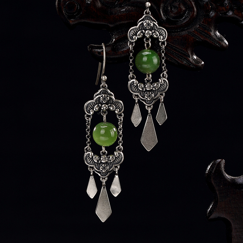 Real Limited Jasper Retro Long Tassels Earring For S925 Pure Natural Hetian Jade In Front Fringe