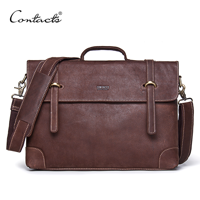CONTACT'S Vintage Crossbody Bag Genuine Crazy Horse Cowhide Leather Shoulder Bags Men Messenger Bag Men Leather Tote Briefcase simline 2017 vintage genuine crazy horse leather cowhide men men s messenger bag small shoulder crossbody bags handbags for man