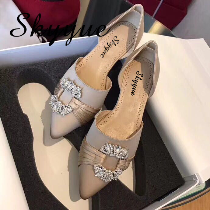 SKYYUE Satin Genuine Leather Crystal Beading Women Pumps Pointed Toe Slip On Low Heel Women Sandal Pumps Shoes Women