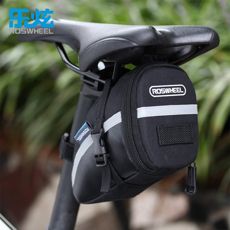 ROSWHEEL 1.2L Portable Waterproof Bike Saddle Bag Cycling Seat Pouch Bicycle Tail Rear Pannier roswheel mtb bike bag 10l full waterproof bicycle saddle bag mountain bike rear seat bag cycling tail bag bicycle accessories