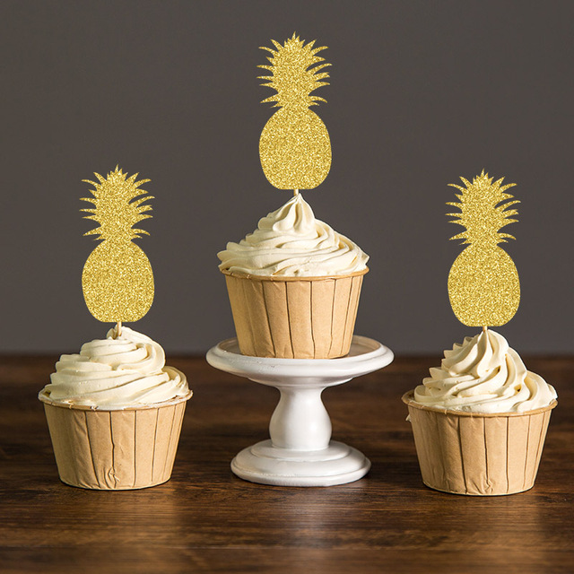 Gold Silver Black Gliter Pineapple Cupcake Toppers Hawaiian Themed Bridal Shower Summer Pool Party Favors Decorations Cake Picks