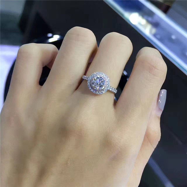 CC S925 Silver Wedding Rings For Women Charms Queen Princess Ring Round Pink Stone Bridal Engagement Jewelry Drop Shipping CC593 6
