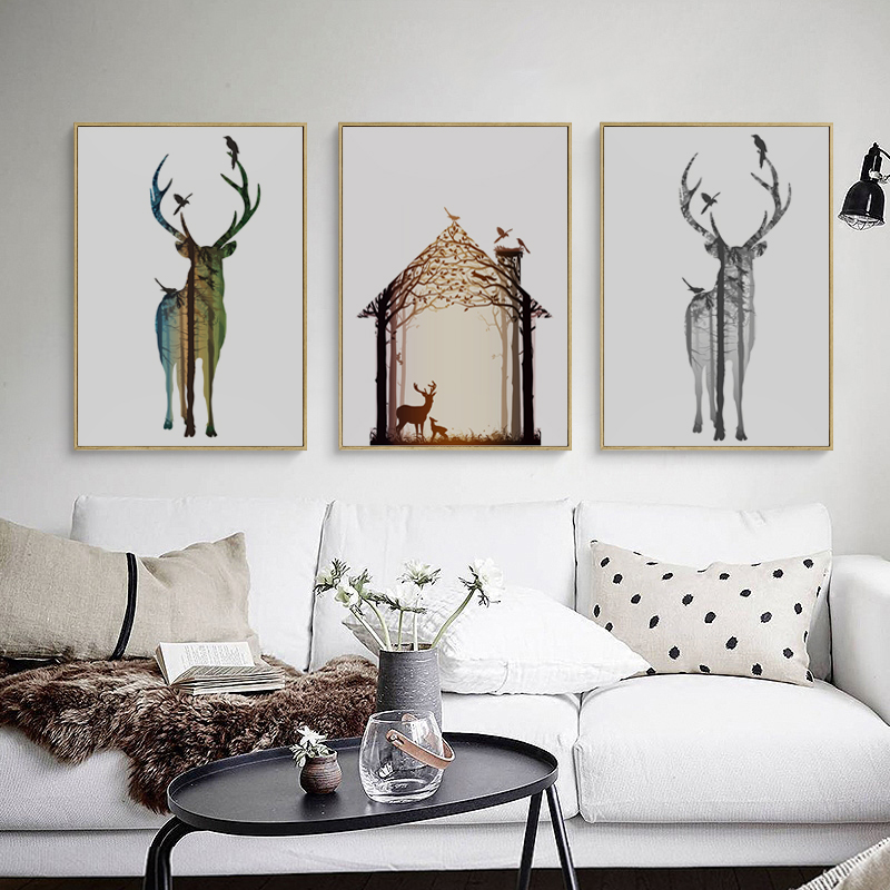 Bianche Wall Nordic Silhouette Deer House A4 Canvas Painting Art Print Poster Picture Wall Home Decor  Bedroom Wall Decoration