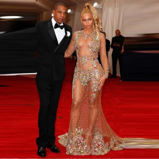 Sexy Hot Beyonce Durchsichtig Abendkleid Tüll Strass Perlen ...