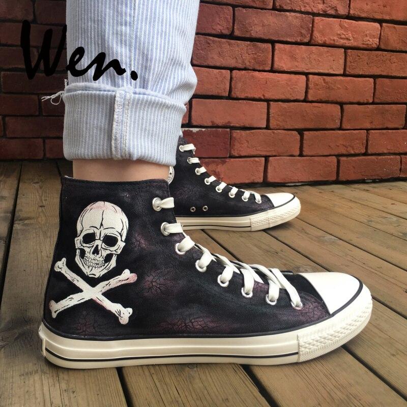 Wen garçons filles Sport Plimsolls conception Horrible crâne Pirates peint à la main toile chaussures noir haut confortable Sneaker