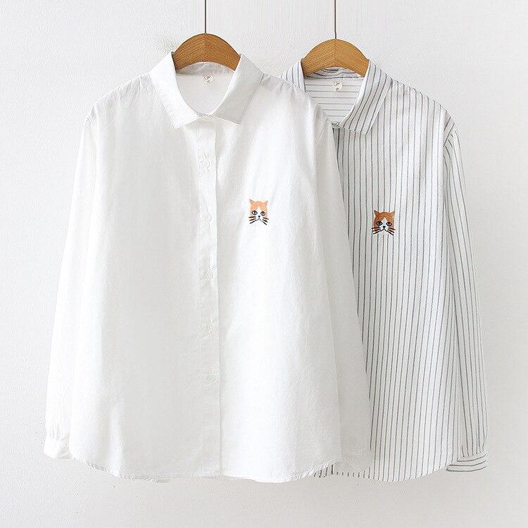 Blouses & Shirts Kyqiao Vintage Denim Shirt 2019 Women Autumn Winter Loose Japanese Style Fresh Long Sleeve Cat Embroidery Denim Blouse