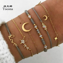 Tocona Bohemia New Arrival Gold Color 6pcs/sets Bracelets For Women Ladies Moon Star Letter Shape Design Bangles Jewelry 6523 docona bohemia new fashion round cross moon star shape gold color chokers chains necklace pendant for women ladies jewelry