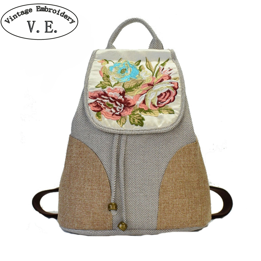 Vintage Embroidery Women Casual Simple Backpack Floral Embroidered Canvas Shoulder Bag Travel Rucksack Schoolbag Woman Mochila simple women s dolman sleeves floral embroidered dress