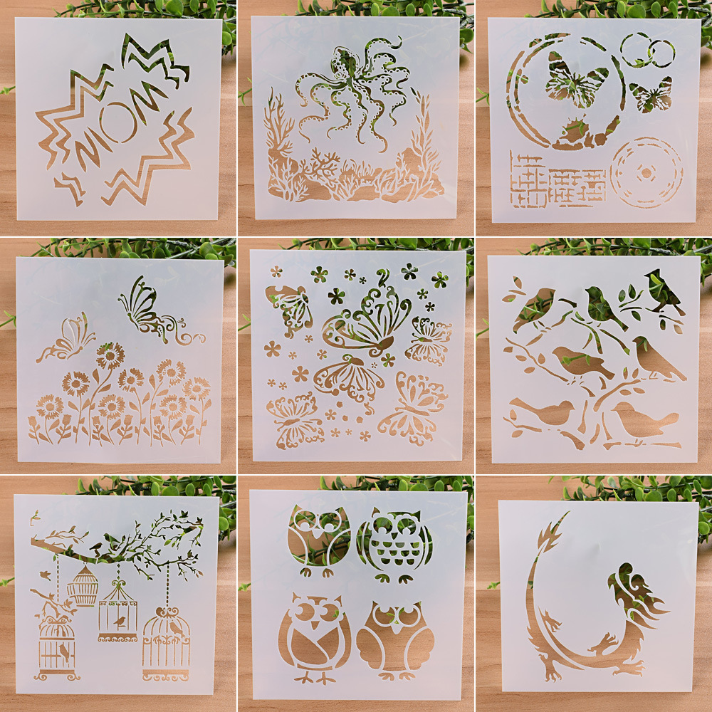 9Pcs/set 13cm Animals Owl DIY Craft Layering Stencils Painting Scrapbooking Stamp Embossing Album Decorative Card Template