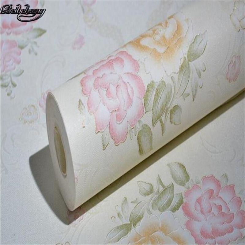 beibehang Beautiful wallpaper Korean floral foam 3D non - woven wallpaper bedroom warm pastoral style beibehang custom wallpaper 3d beautiful
