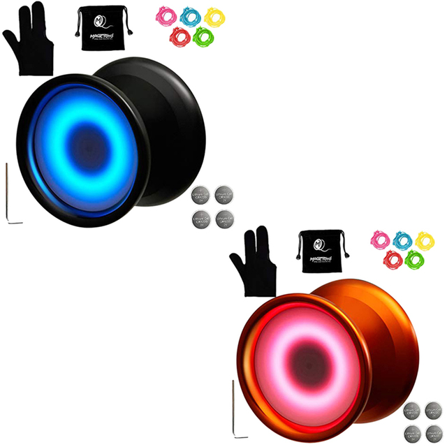 Magicyoyo Y02-Aurora Light Up Professional Unresponsive Yoyo with Led Lights with Glove,Yoyo Holster,5 Strings,Blue Led Light