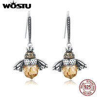 WOSTU Best Selling 100 925 Sterling Silver Lovely Bee Drop Earrings For Women Fine Jewelry Luxury