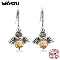 WOSTU Best Selling 100 925 Sterling Silver Lovely Bee Drop Earrings For Women Fine Jewelry Luxury