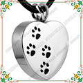 CMJ8004 Four Paw Print Stainless steel Cremation Jewelry Pendants For Pet Ashes Animal Urn