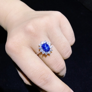 Image 2 - Starlight pierścionek z szafirem, klasyczny 925 czystego srebra gwiazda linii piękne pakowanie poczty