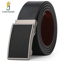Fashion Casual Cowhide Genuine Paid Pattern Strap Leather Automatic Buckle Brown Black Formal Belts For Men