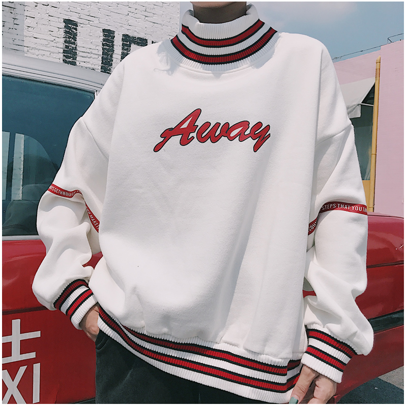 Women Hoodies Sweatshirts 2020 Autumn Korean Style Ulzzang Harajuku Letter Printed Fleece Turtleneck Hoody Sweatshirt Female Top