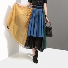 Skirt spring and summer new women's color high waist chiffon skirt Pleated skirt Contrast skirt недорого