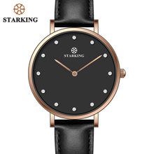STARKING Luxury Fashion Lady Casual Watches Rose Gold Minimalism Rhinestone Simple Women Watches Elegant Black Steel Girls Clock