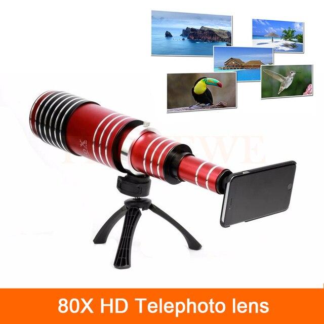 De gama alta 3in1 80x zoom lente telefoto teleobjetivo para iphone 4 4s 5 de metal 5S 6 6 s 7 plus samsung telescopio kit de lentes de cámara del teléfono móvil