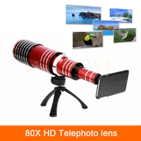 High end 3in1 80X Metal Zoom Telephoto Lens For iPhone 4 4s 5 5s 6 6s 7 Plus Samsung Telescope Mobile Phone Camera Lenses kit
