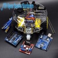 1Set 2WD Mini Round Double-Deck Smart Robot Car Chassis + 1 set Control Suite